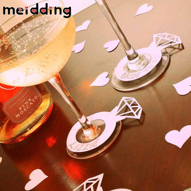 MEIDDING Bachelorette Party Diamond Rings Wine Glass Cards Marker Name Tags Wedding  Bridal Party Decoration Table 628d6a8778a6