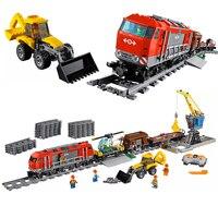 Fit Legoness City Technic 60098 Heavy Haul Train Set With Power Motor Function Crane Mini Figures Building Blocks Toy Kids Gift