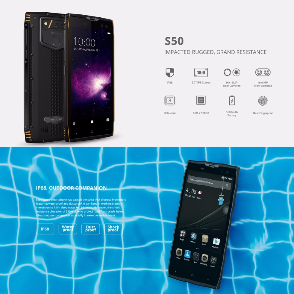 DOOGEE S50 IP68 Waterproof Smartphone 5 7 18 9 6GB 128GB MTK6763 Octa Core android 7