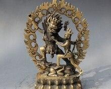 8 Old Tibet Buddhism Brass Yamantaka Buddha Yama Dharmaraja Yab-Yum Statue