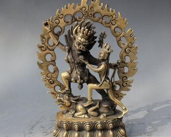 "8"" Old Tibet Buddhism Brass Yamantaka Buddha Yama Dharmaraja Yab-Yum Statue"