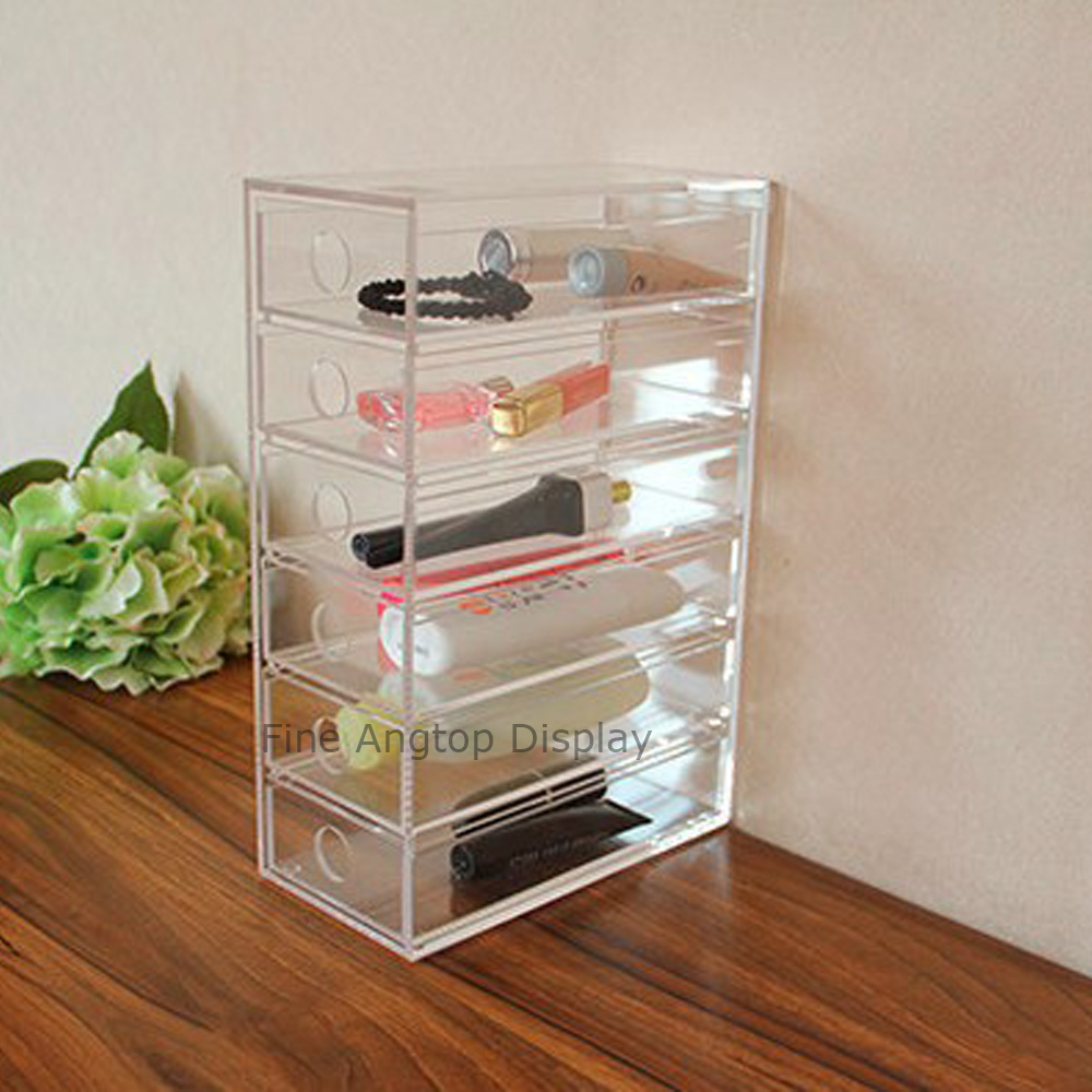 Clear 6 Drawer Box Acrylic Lipstick Holder Makeup Organizer Case Cosmetics Jewelry Storage Box Sunglasses Display acrylic cosmetics makeup and jewelry storage box 3 small drawers space saving