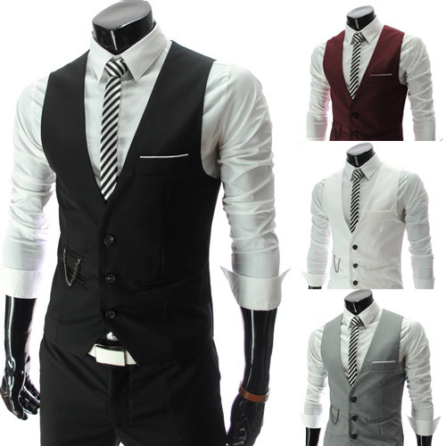 Men Vest Autumn Men's Fit Dress Suit Vest Waistcoats Men Slim Gilet  Jacket Hot Sale Free Shipping