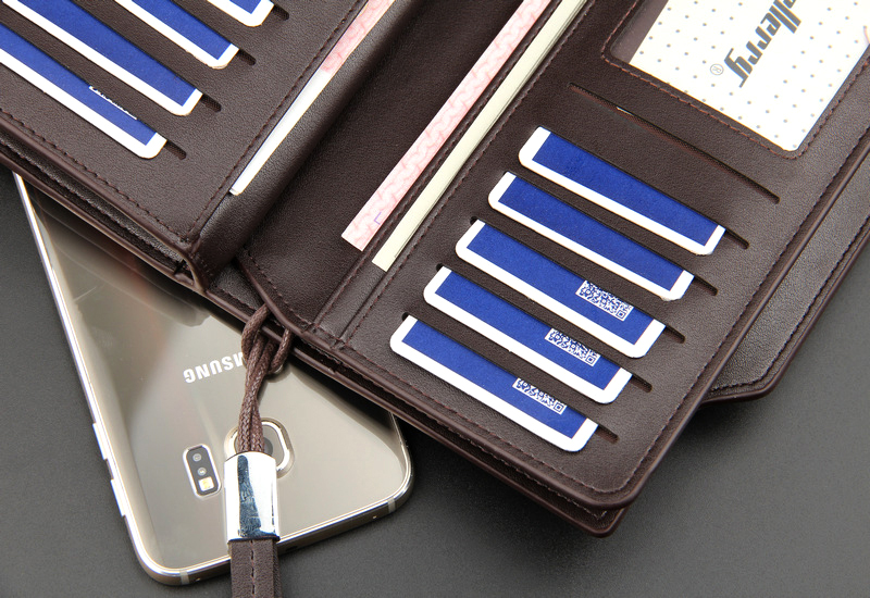 Top Quality leather long wallet men zipper wallets men women money bag pocket mltifunction brown one size 17