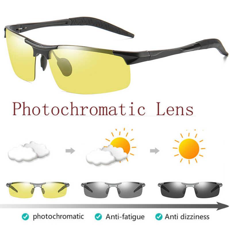 b4ce2cf270 Aluminium Photochromic Polarized Sunglasses Mens Transition Lens Day Night  Vision Driving Sun glasses for Mens Safety