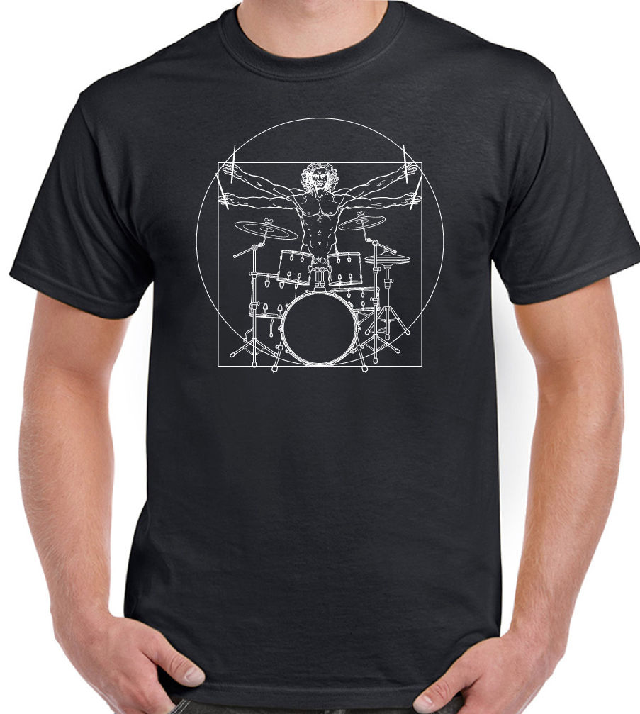 Vitruvian Drummer (Man) - Mens Funny Drumming T-Shirt Drums Drum Kit Stick Summer Short Sleeve Cotton