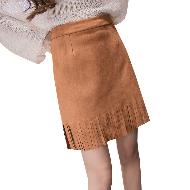 dfd70846ddffb 2017 New Spring Summer Women Faux Suede Tassel Skirt Casual High Waist  Skirts Plus Size Student Vintage Bodycon Mini Skirt AB205-in Skirts from  Women s ...