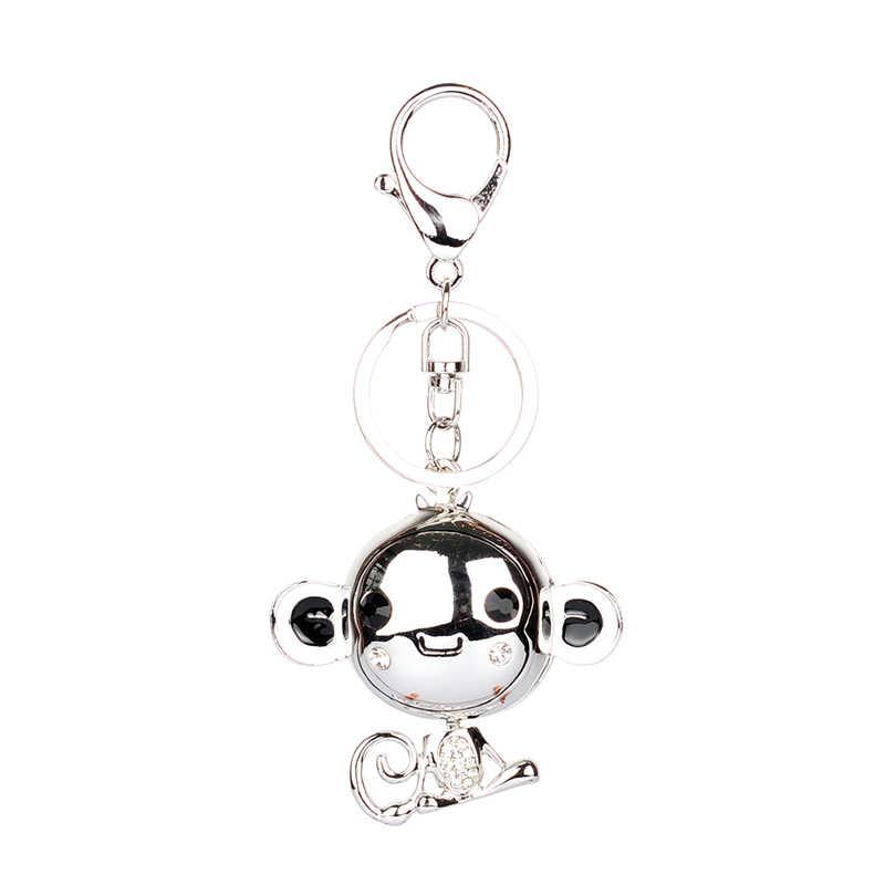 LLavero de aleación de goteo de alta calidad chapeiro gota de aceite glaseado lindo mono diamantes de imitación de cristal llavero de acero inoxidable