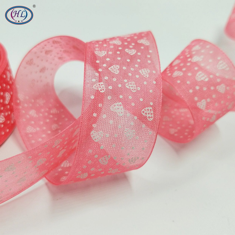 HL 1 Printed Heart 10 Yards Organza Ribbon Weaving Wedding Chritmas Decorations DIY Crafts Gift Box Wrap A037