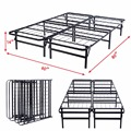 GOPLUS Queen Size Platform Metal Bed Frame Mattress Foundation 80'' 60'' 14''  HW51148