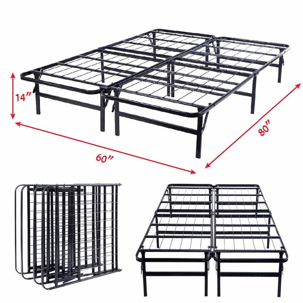 GOPLUS Queen Size Platform Metal <font><b>Bed</b></font> Frame Mattress Foundation 80'' 60'' 14'' HW51148