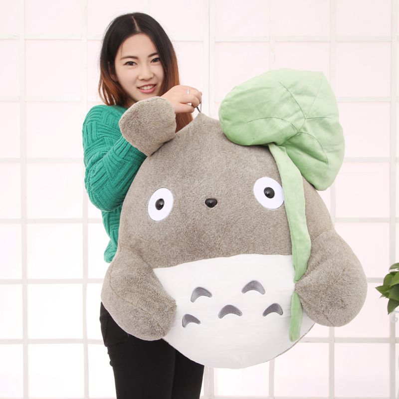 Lotus leaf style large 65cm totoro plush toy soft pillow ,birthday gift w5228 high quality rilakkuma plush toys pillow totoro plush pillow single style factory supply whole sale and retails