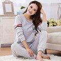 Das Senhoras Das mulheres Lar Roupa Pijama Define Manga Longa O-pescoço 3XL Tamanho Grande Dos Desenhos Animados Quente Algodão Macio Pijama Plus Size Sono