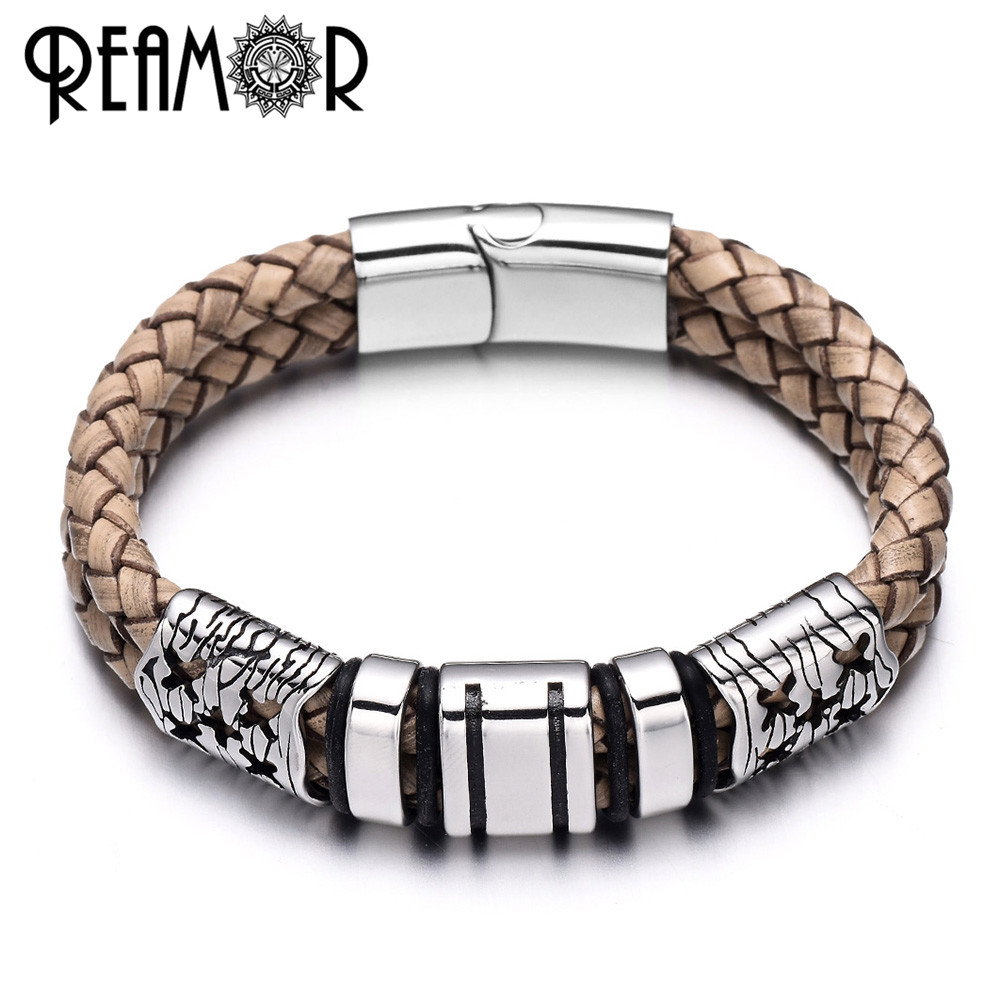 REAMOR Fashion 316l Stainless Steel Brown Genuine Braided Leather Bracelets & Bangles Male Vintage Wristband For Men Jewelry nidin 2017 men jewelry brown genuine leather bracelets