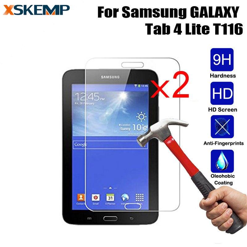 XSKEMP 2 Шт./лот Прозрачного Закаленного Стекла Пленка Для Samsung GALAXY Tab 4 Lite 7.0 SM-T116 Tablet Закаленное 9 H Жесткий Экран HD протектор