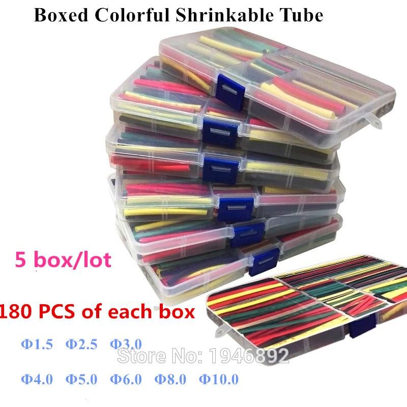 цена на 5pcs/lot 180Pcs 1.5MM 2.5MM 3MM 4MM 5MM 6MM 8MM 10MM Assortment Ratio 2:1 Polyolefin Heat Shrink Tube Tubing Sleeving Wrap Kit
