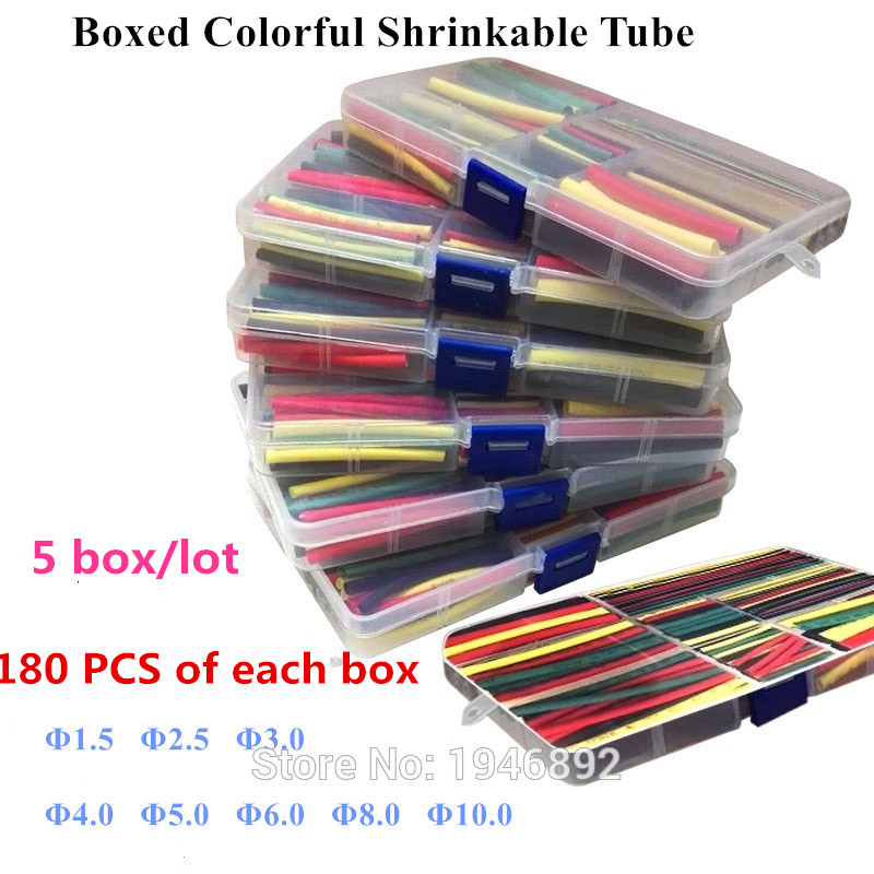 5pcs/lot 180Pcs 1.5MM 2.5MM 3MM 4MM 5MM 6MM 8MM 10MM Assortment Ratio 2:1 Polyolefin Heat Shrink Tube Tubing Sleeving Wrap Kit