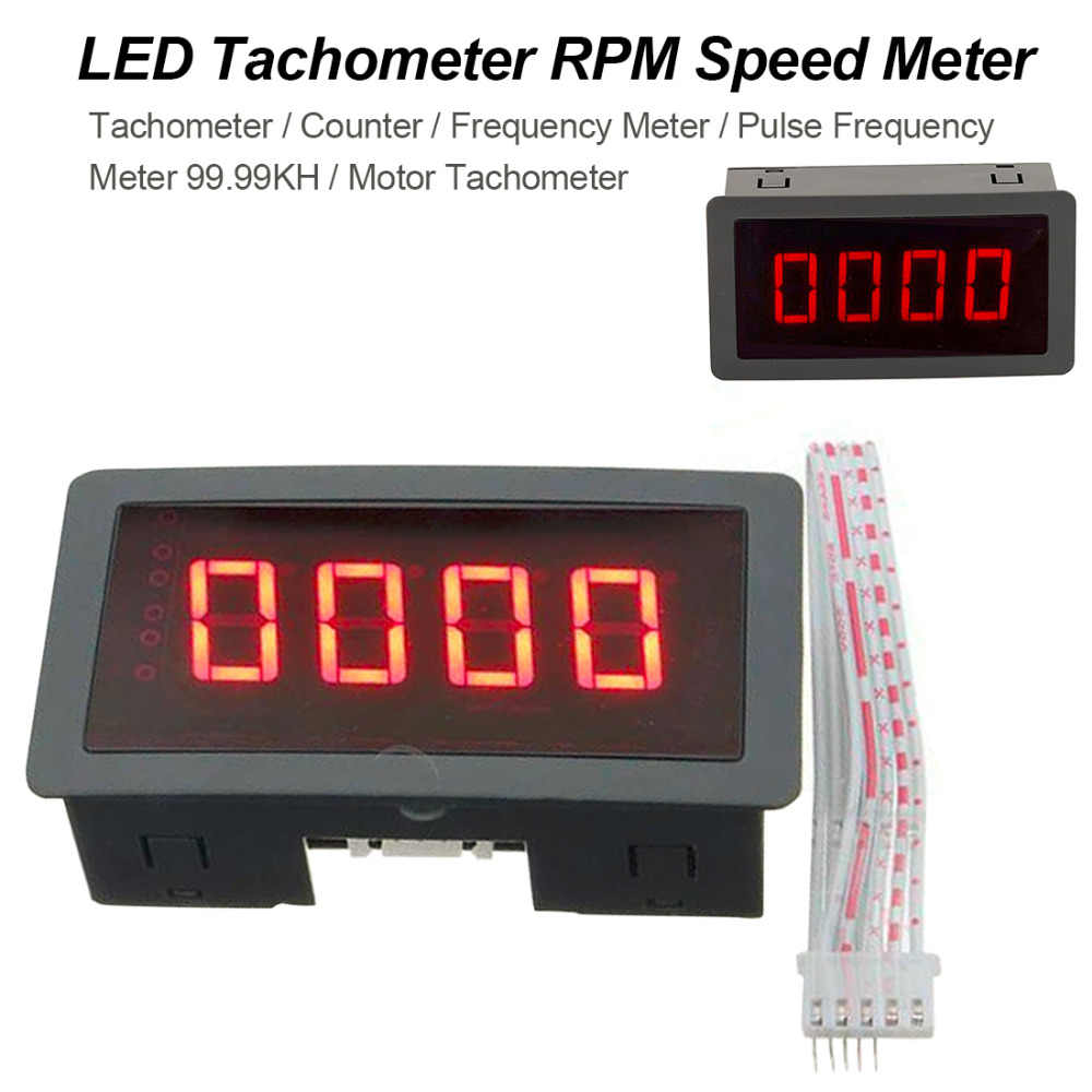 10-9999RPM 4 Digital Tachometer Red LED Tach RPM Speed Meter With Proximity  Switch Sensor NPN