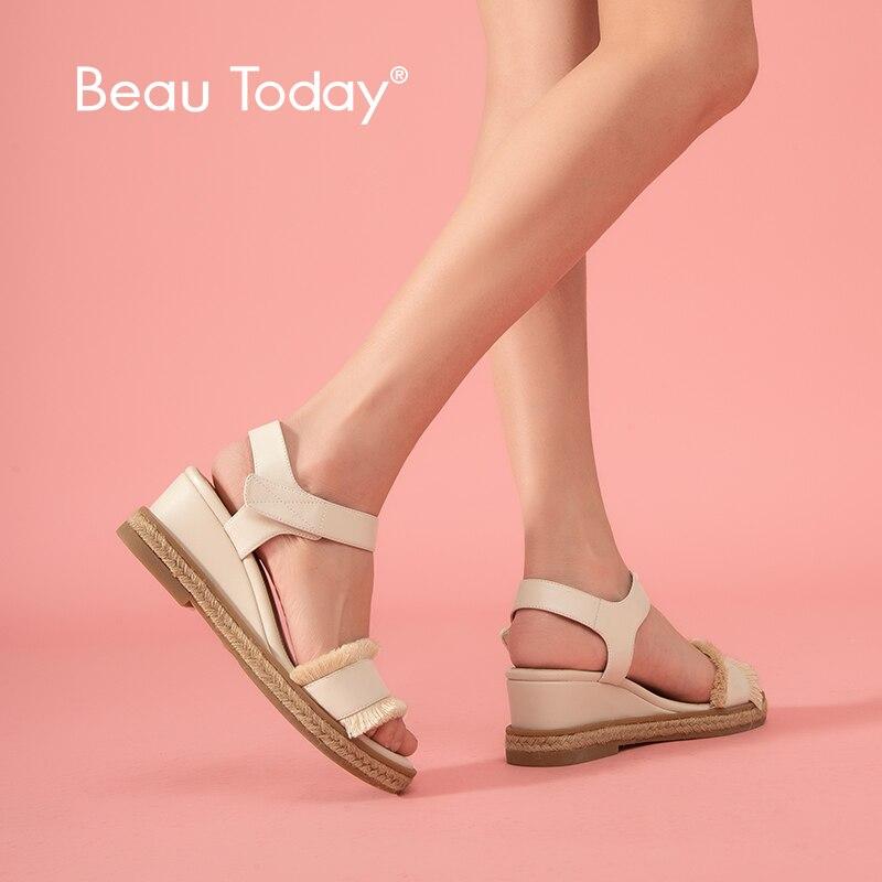 Ayakk.'ten Yüksek Topuklular'de BeauToday platform sandaletler Kadın Hakiki Inek Deri Saçak cırt cırt Bayanlar Halat Takozlar Sandalet Yaz Ayakkabı 32098'da  Grup 1