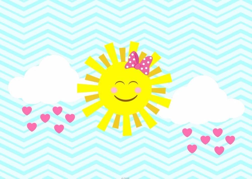 7x5ft Turquoise Stripes Smile Emoji Sun Love Heart Clouds Custom
