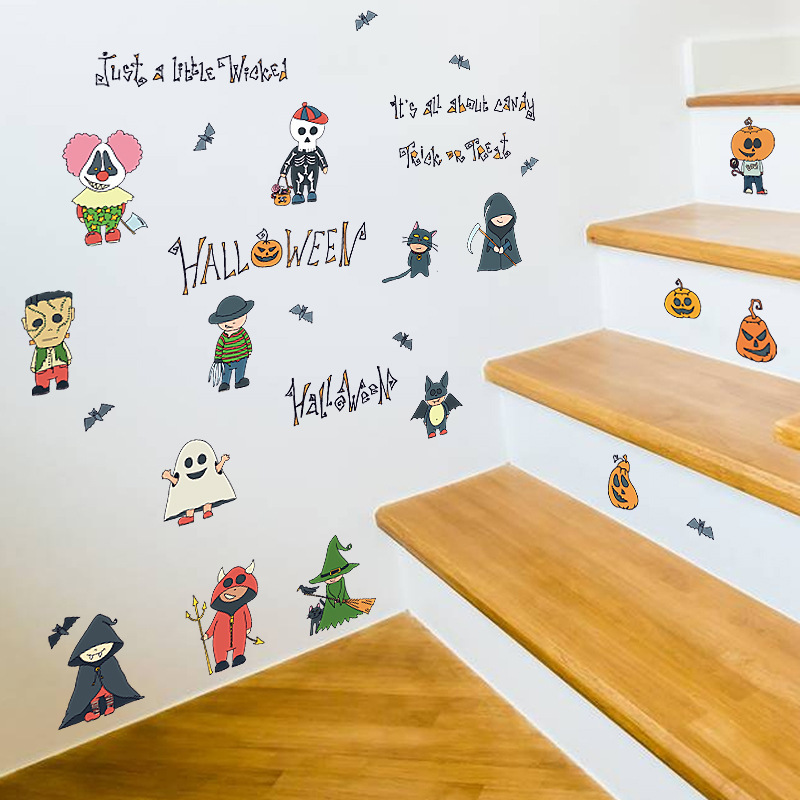 Cartoon Small Person Decor Wall Stickers Scary Pumpkin Witch Wizard Ghost Bat Kids Room Kitchen Wardrobe Fridge Decals In From Home