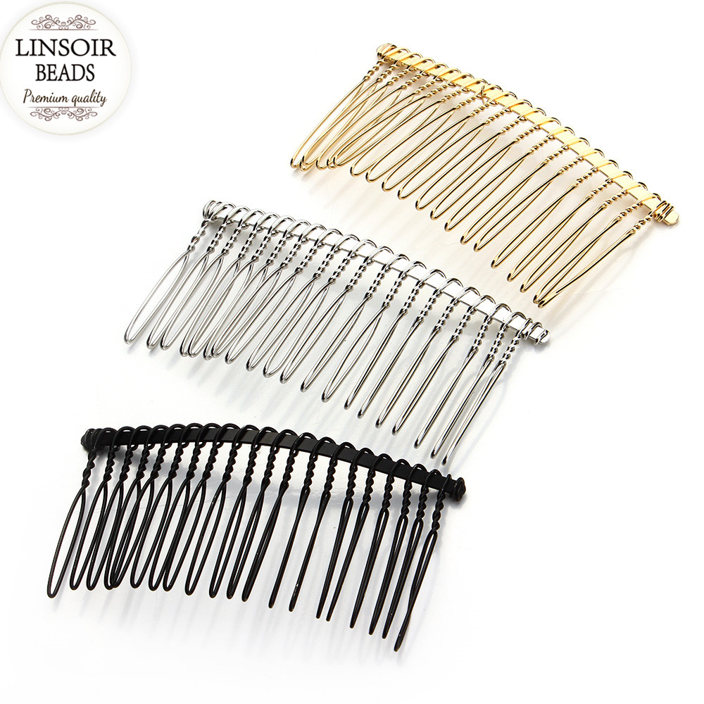 6pcs/lot 10 15 20 30 Teeth Black/Gold/Rhodium Hairpin Wedding Hair Accessories Metal Bridal Hair Combs DIY Jewelry Findings