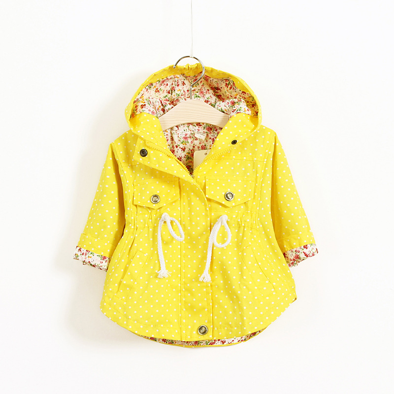 New Spring Baby Girls Clothes Baby Outerwear Infant Cartoon Coat Wave Printed Batwing Coat(China)