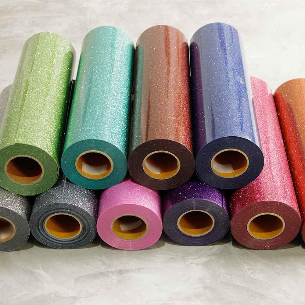 Rouleau de vinyle de transfert de chaleur de fer sur paillettes 50x500 cm pour T-shirt, sacs de vêtements et autres tissus pour 16 couleurs