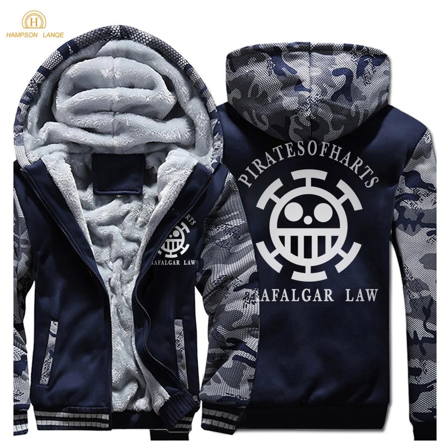 Japan Anime Monkey D Luffy One Piece Trafalgar Law Print Harajuku Mens Sweatshirts 2018 Winter Warm Men Zipper Hoodies Jacket