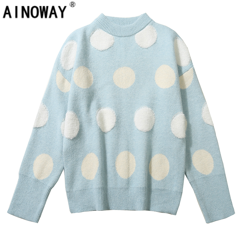 Winter vintage chic New Korean women College Style polka dot sweaters Loose o-neck Long-sleeved soft Sweater Women