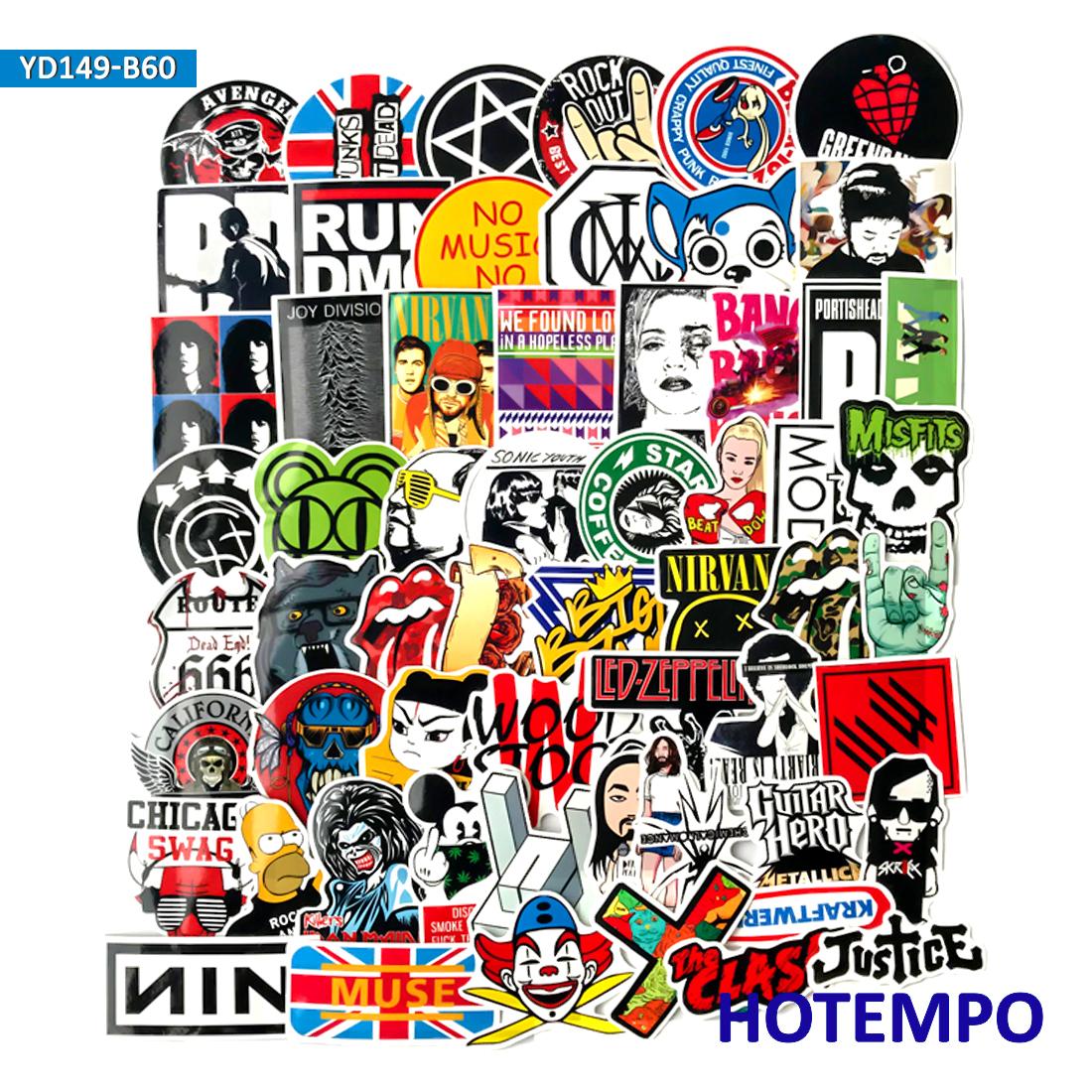 60 50 piezas Hip Hop Rock and Roll Punk Band música pegatinas para teléfono  portátil Skateboard esquí Snowboard bicicleta equipaje pegatina 8ae406836c6