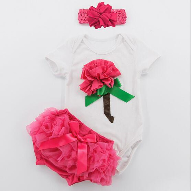 3pcs girls Valentines Rose Short sleeve white Bodysuit ruffle tutu bloomer set  (3)