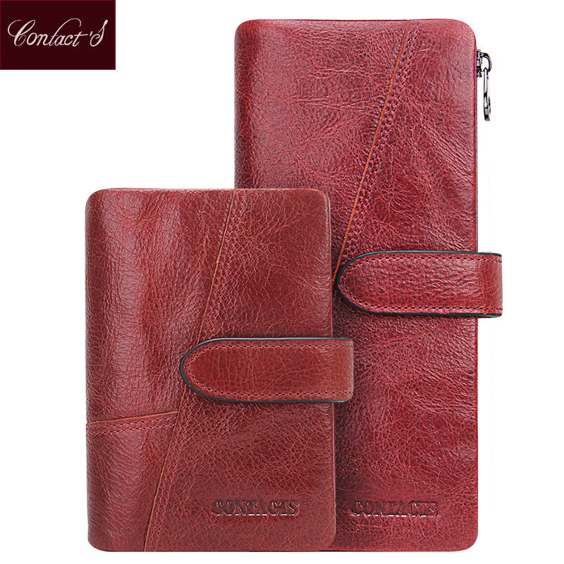 Contact's Genuine Cowhide Leather Women Wallets Fashion Purse Card Holder Vintage Long Wallet Clutch Wrist Bag Carteira Feminina vintage genuine leather wallets men fashion cowhide wallet 2017 high quality coin purse long zipper clutch large capacity bag