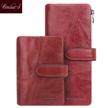Contact's Genuine Cowhide Leather Women Wallets Fashion Purse Card Holder Vintage Long Wallet Clutch Wrist Bag Carteira Feminina