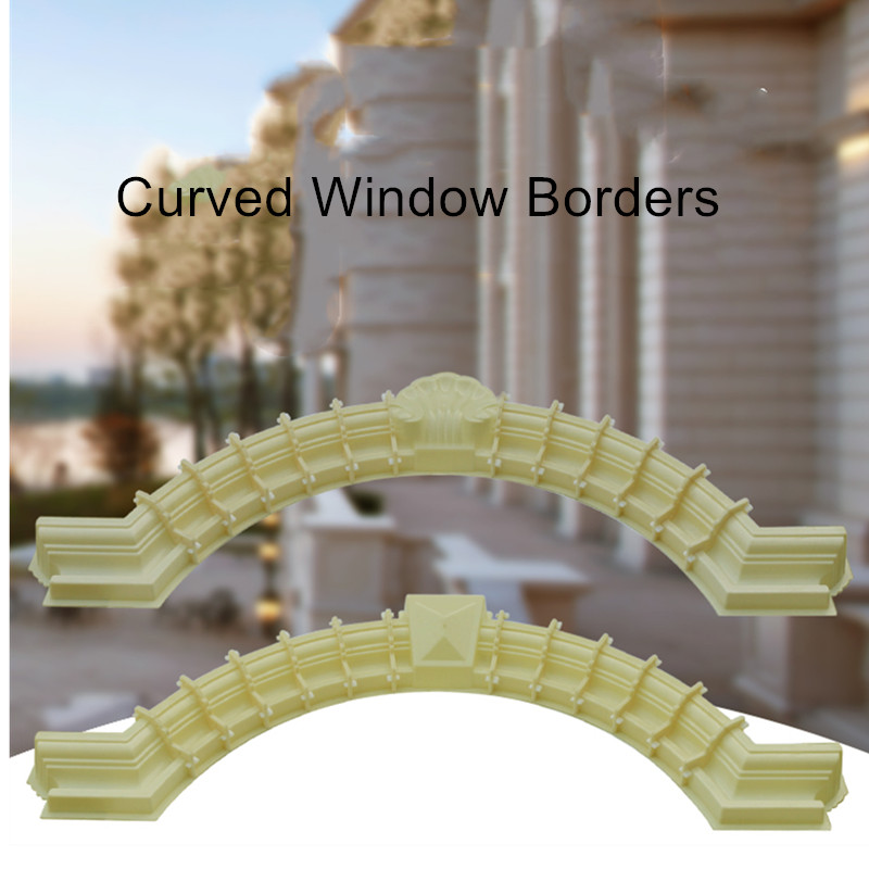 90cm /35.43in GRC Home Wall Decoration ABS Interlock Diamond &Flower Top Cement/ Concrete Cast In Place Window Border Arc Mold