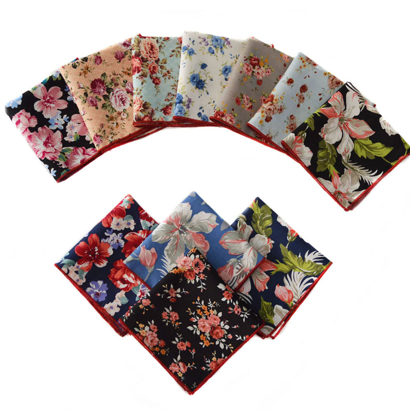 Men Pocket Square Handkerchief Cotton Peony Flower Floral Wedding Hanky BWTYX0147