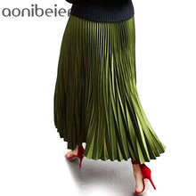 Skirts Women Spring Autumn Summer Style Women's High Waist Pleated Fashion Solid Girl Half Length Skirt Breathble Ankle Length