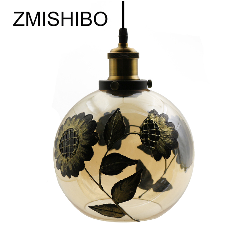 ZMISHIBO 110V-220V E27 Pendant Lamp Modern Sunflower Painted Amber Glass Lampshade kitchen Use Drop lights Lighting FixturesZMISHIBO 110V-220V E27 Pendant Lamp Modern Sunflower Painted Amber Glass Lampshade kitchen Use Drop lights Lighting Fixtures