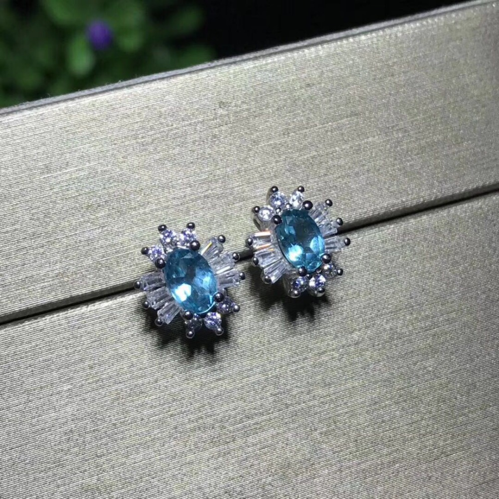 все цены на Fashion natural blue topaz earrings Natural gem stone earrings bow-knot round 925 silver female wedding earrings jewelry онлайн