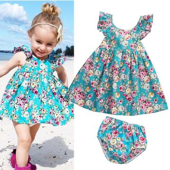 2018 Lovely Summer Infant Baby Girl Ruffle Floral Dress Sundress Briefs Outfits Clothes Set 1