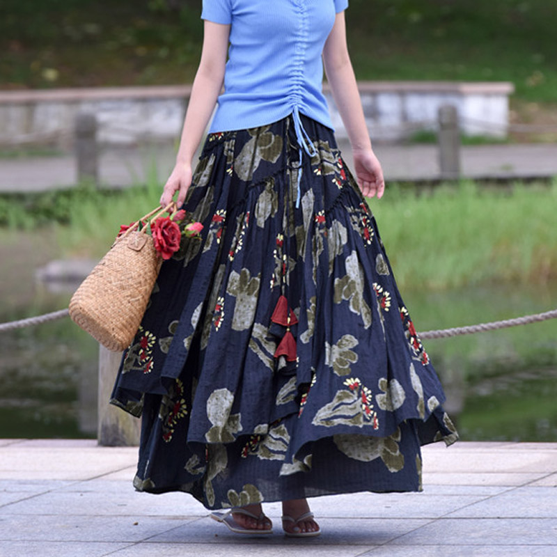 4ddf95520 2018 female National style Long large Plus Size printing Floral Cotton and  Linen skirt designs Spring