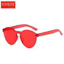 Stylish Transparent Cat Eye Frameless Sunglasses Women Men Luxury Brand Clear Sun Glasses Integrated Goggles Red Candy Eyewear
