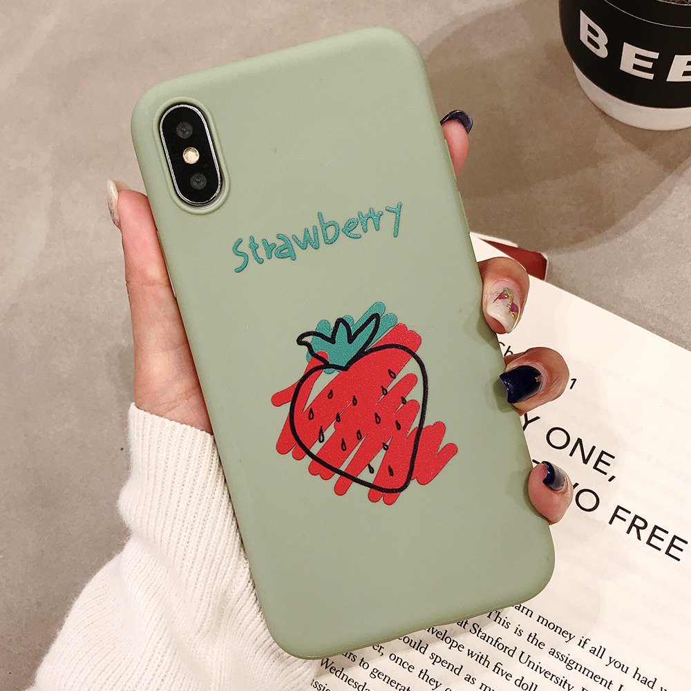 KIPX1090B_1_JONSNOW Phone Case for iPhone XR XS Max 6S 7 8 Plus Embossed Fruit Style Lemon Watermelon Strawberry Patterns Soft Silicone Cover