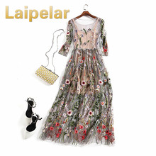 Laipelar 2018 Bohemian Long Dress Evening Party Dresses Gorgeous Half Sleeves Sheer Mesh Embroidery Boho Style Spring