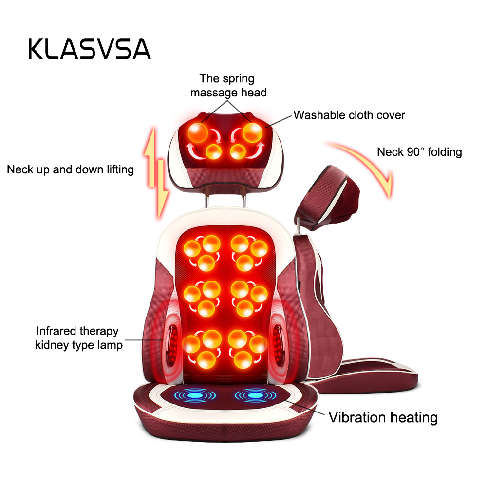 Image 2 - KLASVSA Eelectric Heating Kneading Massage Chair Infrared Physical Therapy Neck Pillow Back Massage Relax Seat Cushion Vibrator-in Massage & Relaxation from Beauty & Health