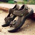 Новые кожаные сандалии мужчины дышащий летом пляжные сандалии обувь