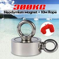 300KG Double sided Powerful Round Neodymium Magnet Hook Salvage Magnet Sea Fishing Equipments Holder with Ring and 10M Rope