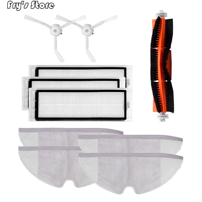 10pcs/lot New Main brush Hepa Filter Side brush Mop cloths Kit accessories for Xiaomi mijia robot roborock s50 s51 roborock 2|Vacuum Cleaner Parts|Home Appliances - title=