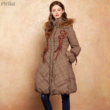 Artka 2017 Для женщин длинные Парка на пуху пальто с Мех капюшоне зима теплая дутая Куртка-пуховик, 90% утиного пуха с меховой воротник ZK10079D
