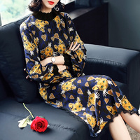 women's clothes 2018 spring new dress, leopard print cat printed lantern sleeve splicing in the long BNL074